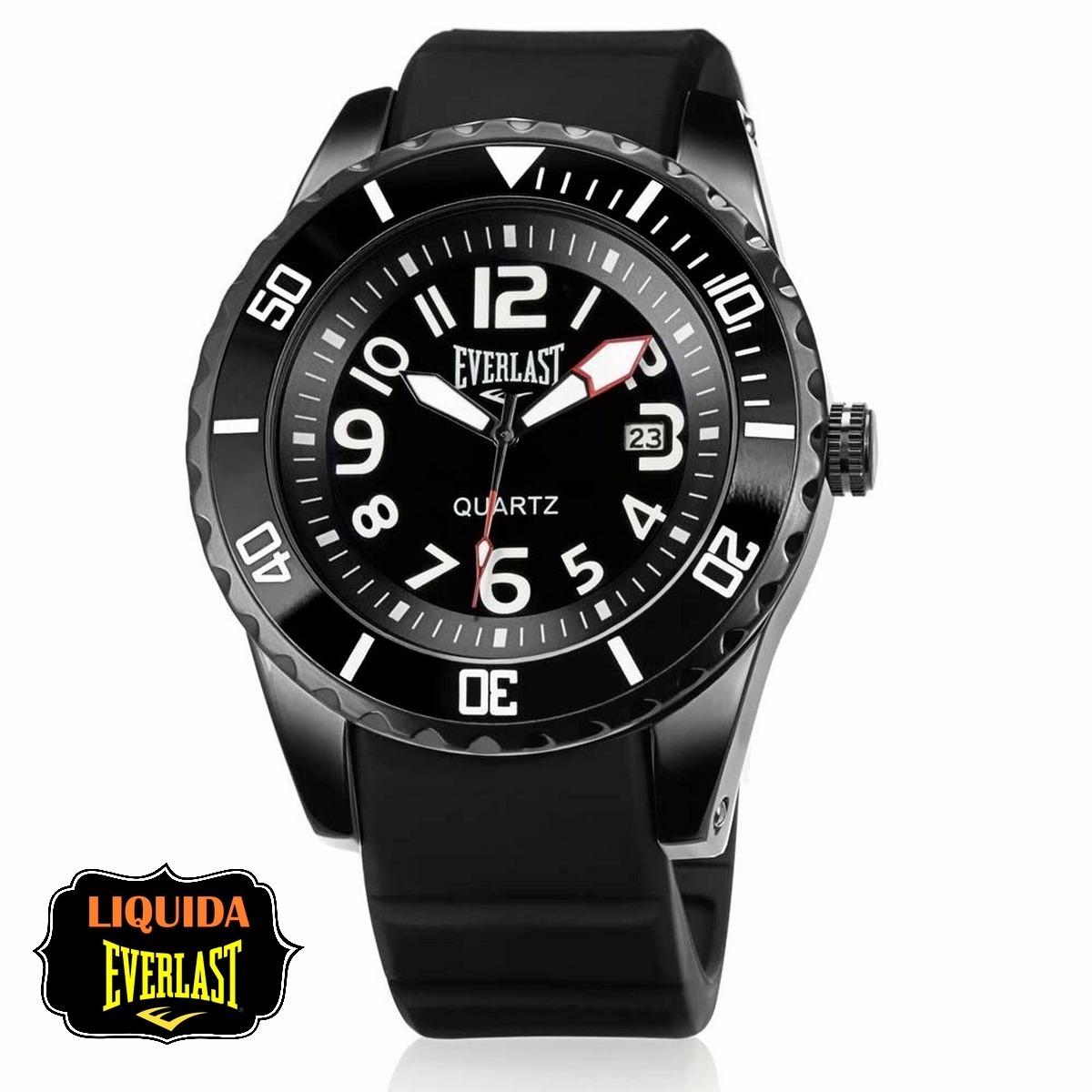 fa8f7d3ffce Relógio Everlast Masculino Borracha Preto Analógico - E511 P - R  450
