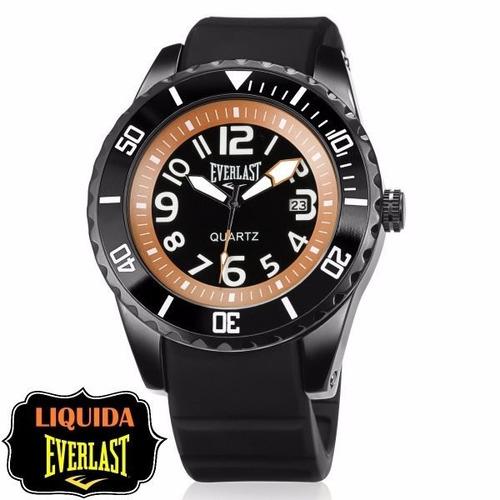 relógio everlast masculino borracha preto analógico - e514