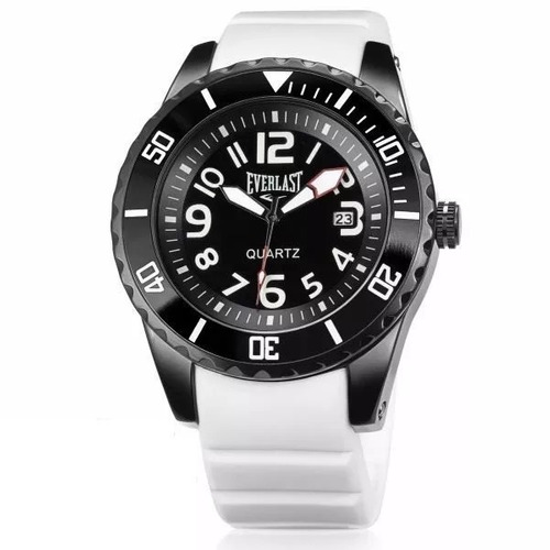 relógio everlast masculino branco e511 grande borracha