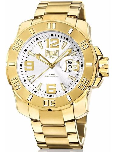 relógio everlast masculino dourado  analógico e655