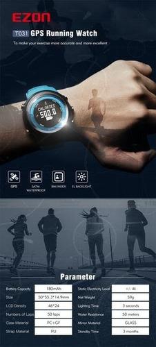 relógio ezon t031 gps/distância/velocidade/calorias queimada