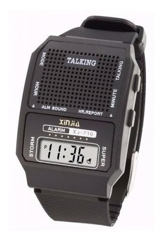 relógio fala hora alarme digital unissex idoso promoção