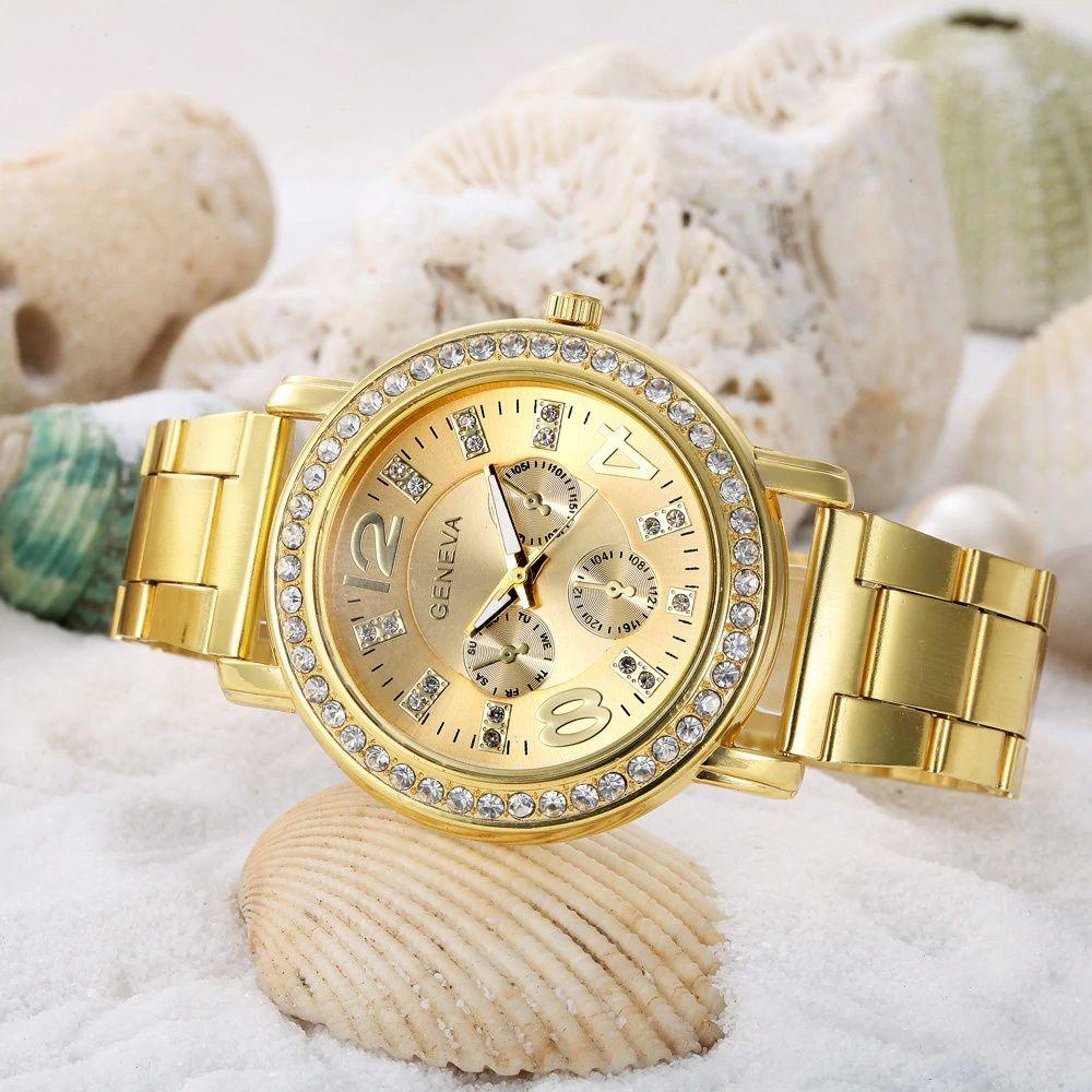 47abc805bff Relógio Feminino 2626 Dourado Prata Ou Rosê - Diversas Cores - R  99 ...
