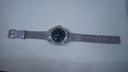 relógio feminino aço inox pedras casual lindo