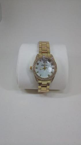 relógio feminino aço inox pedras casual lindo dourado perola