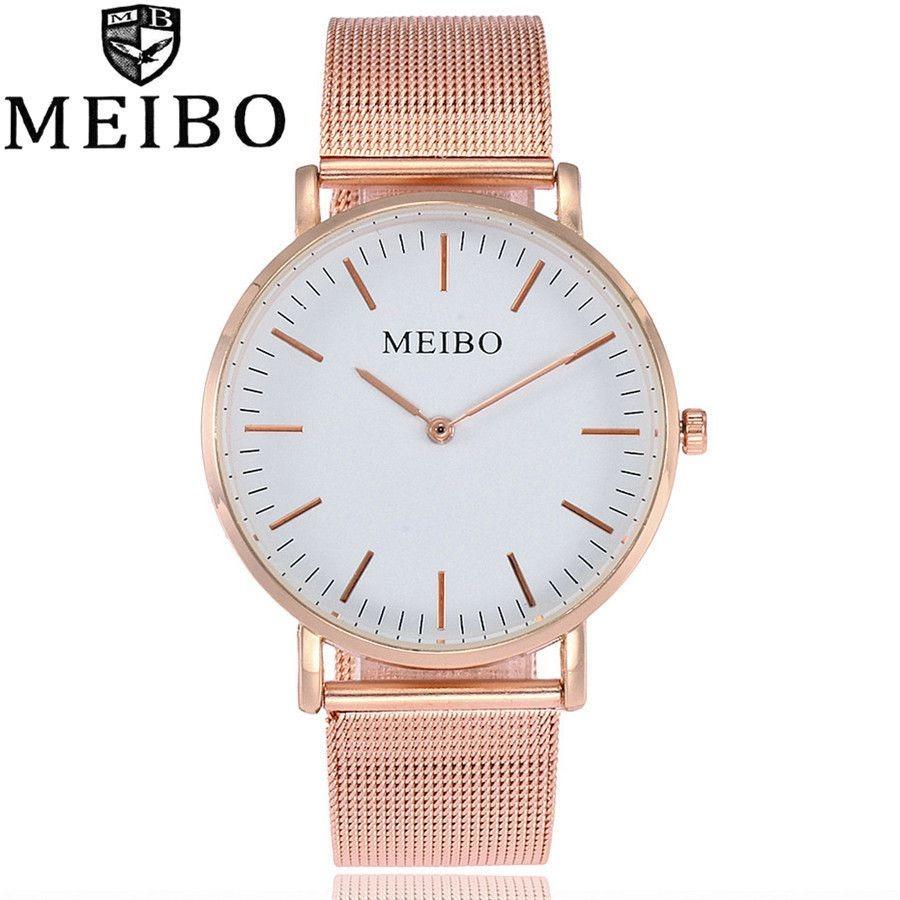 a2045c270b3 relógio feminino aço inoxidável cinta de malha rosa meibo. Carregando zoom.