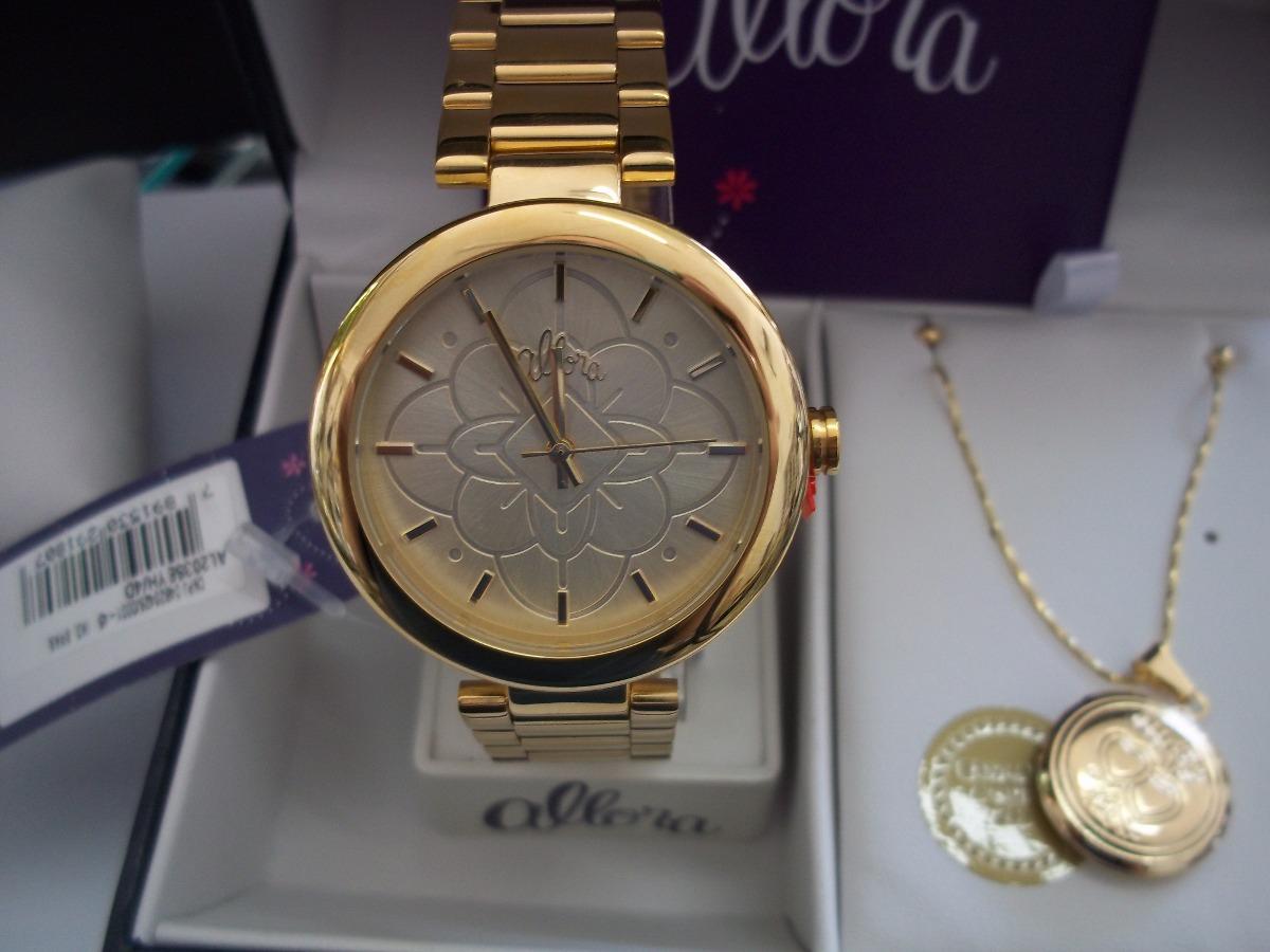 62890b4a12c kit relógio feminino dourado allora com conjunto folheado. Carregando  zoom... relógio feminino allora. Carregando zoom.