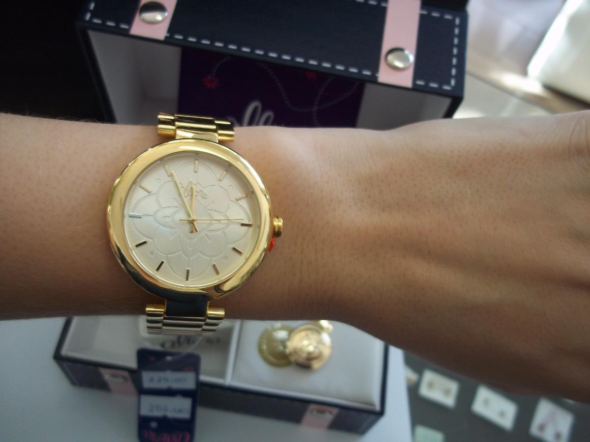 0fd14abb283 Kit Relógio Feminino Dourado Allora Com Conjunto Folheado - R  252 ...