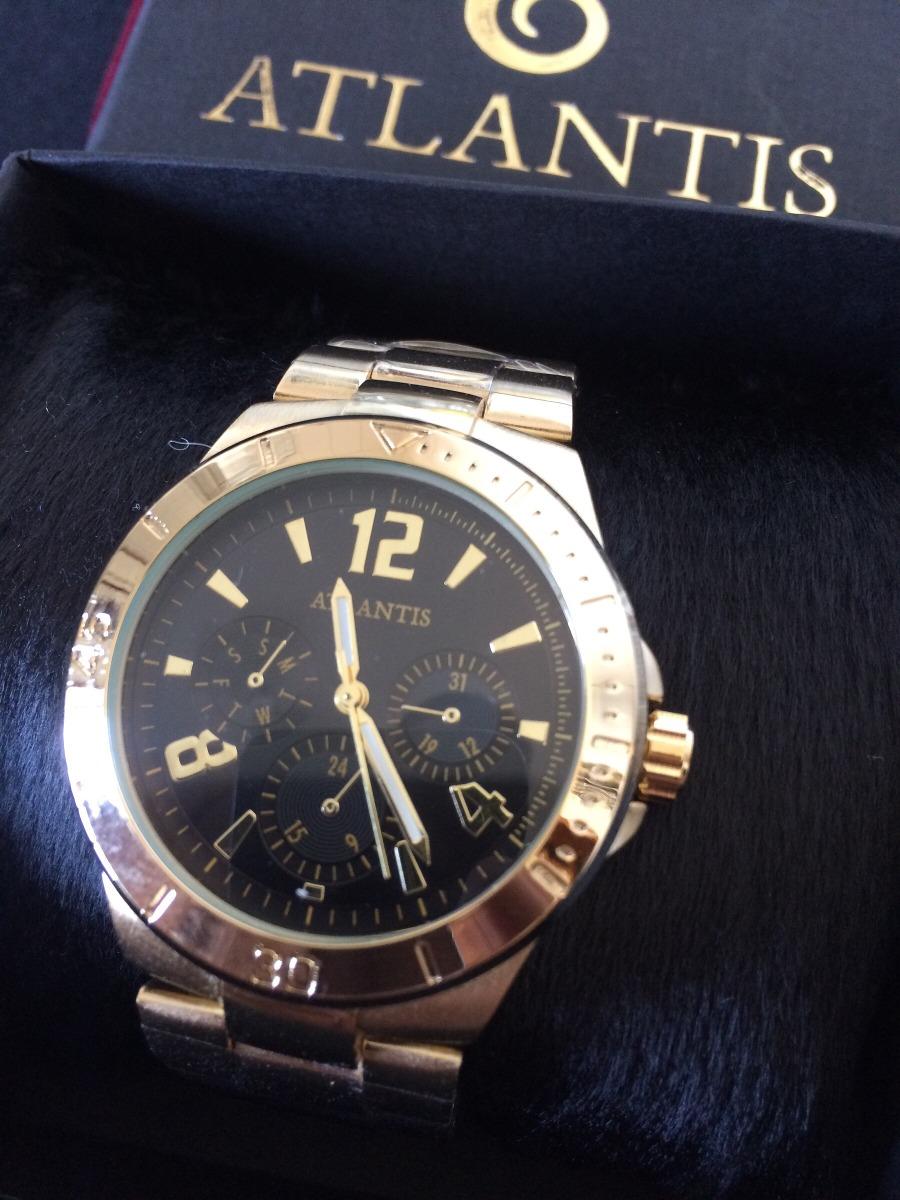 4cba414735d relógio feminino analógic atlantis g3234 dourado fundo preto. Carregando  zoom.