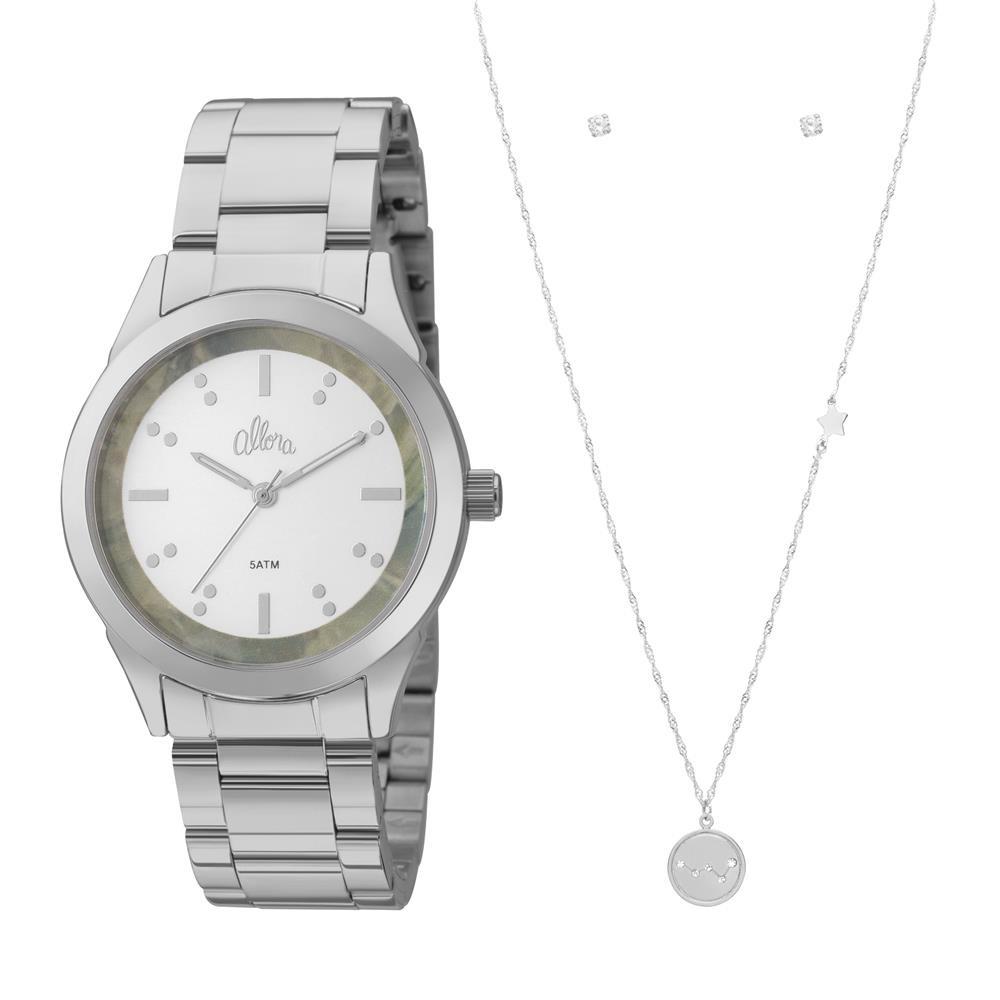 1c0d7996f8352 relógio feminino analógico allora al2035fkk k3v colar prata. Carregando  zoom.