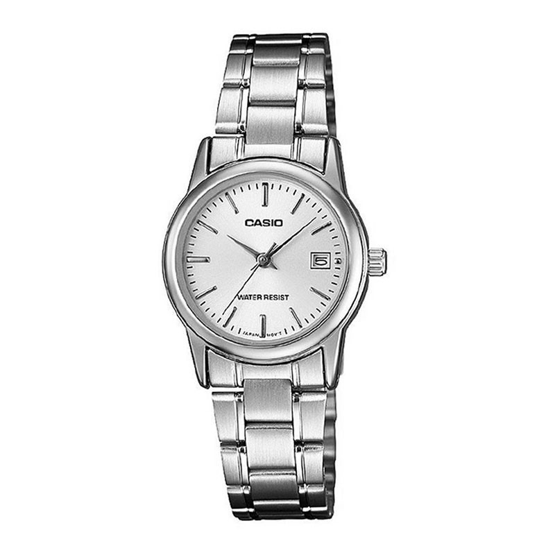 3079cd14335 relógio feminino analógico prata wr casio ltp-v002d-7audf. Carregando zoom.