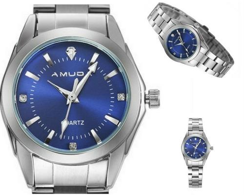relógio feminino analógico quartzo luxo aço inoxidável azul