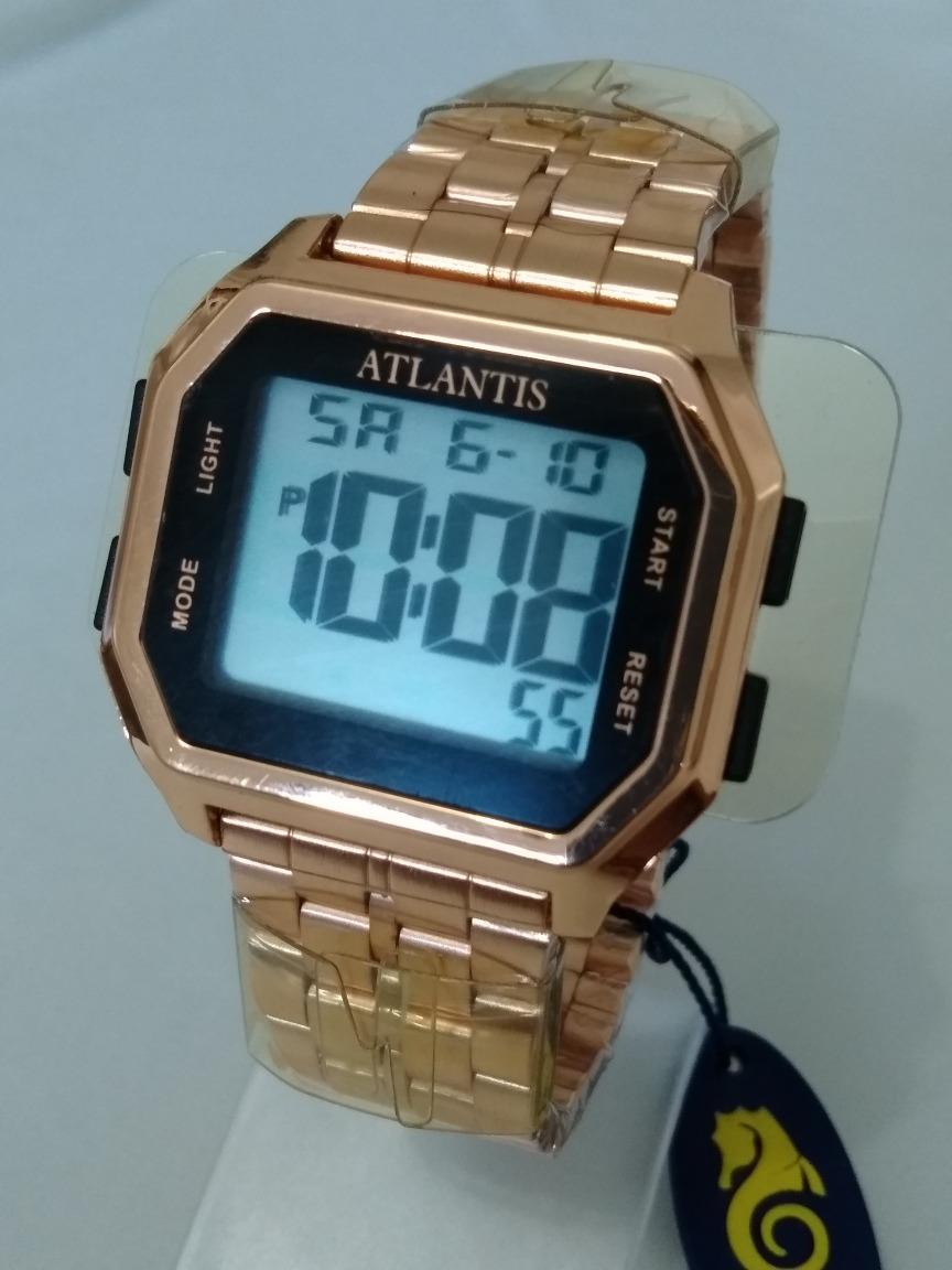 6cbe2bce5ed Relogio Dourado Feminino Digital Atlantis G-7473 Original. - R  79 ...
