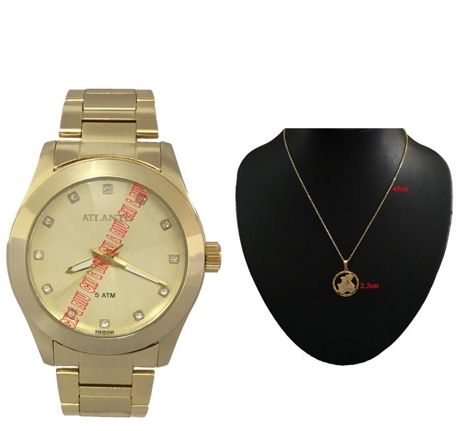 99d289ed98c relógio feminino atlantis aço folheado ouro colar pingente. Carregando zoom.
