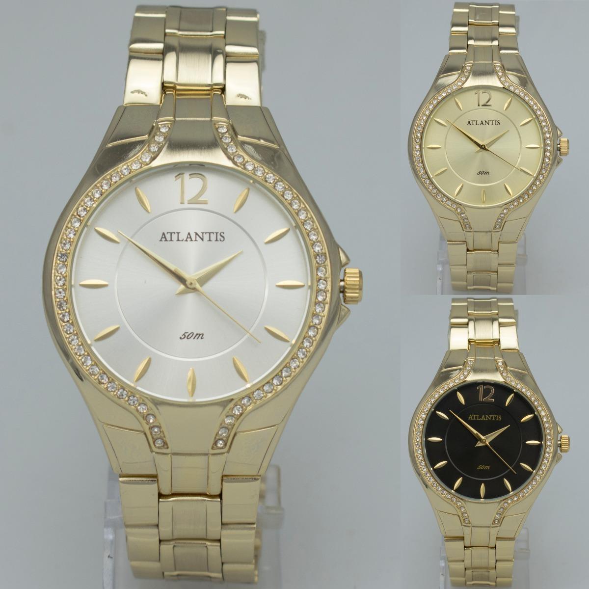 976f6a90e1b relógio feminino atlantis dourado barato analógico quartz. Carregando zoom.
