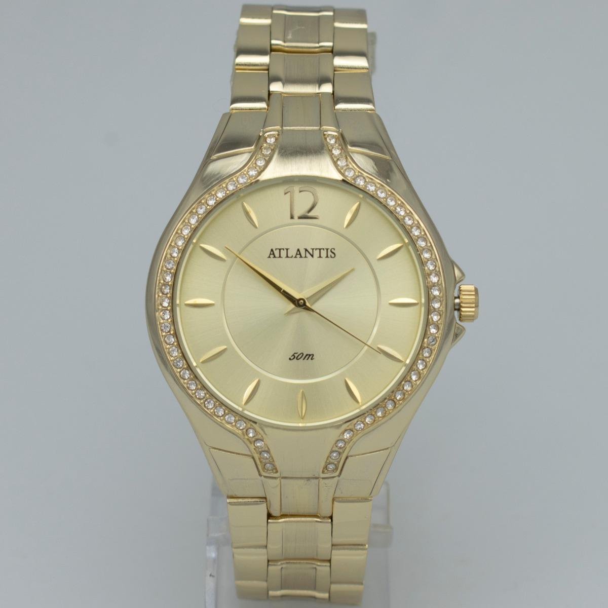 d338031cb64 relógio feminino atlantis dourado barato analógico quartz. Carregando zoom.