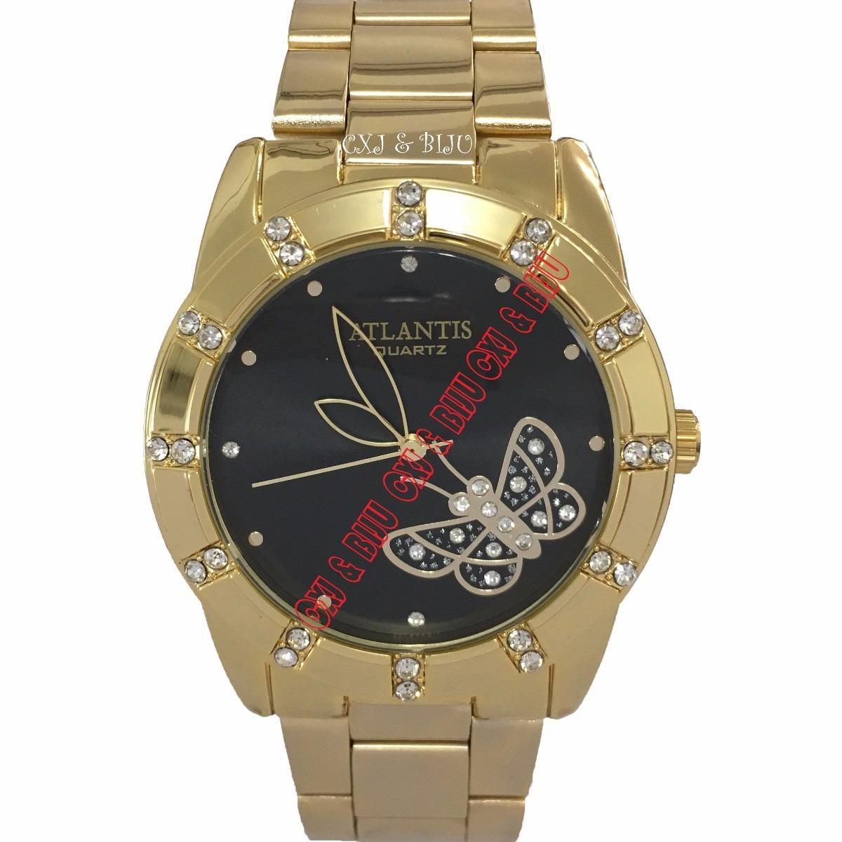566e1017abc relógio feminino atlantis dourado fundo com borboleta 4cm. Carregando zoom.