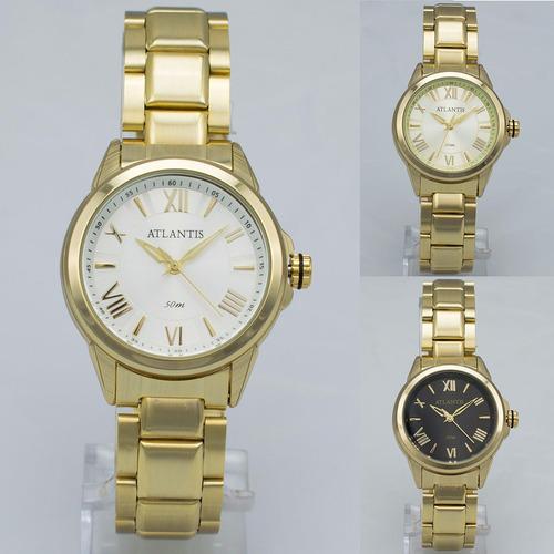 relógio feminino atlantis luxo dourado aço analógico + caixa