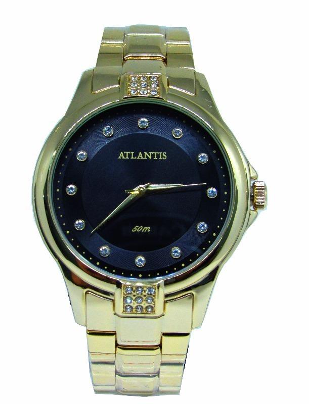 ca7a12b461f relógio feminino atlantis original dourado strass analógico. Carregando zoom .