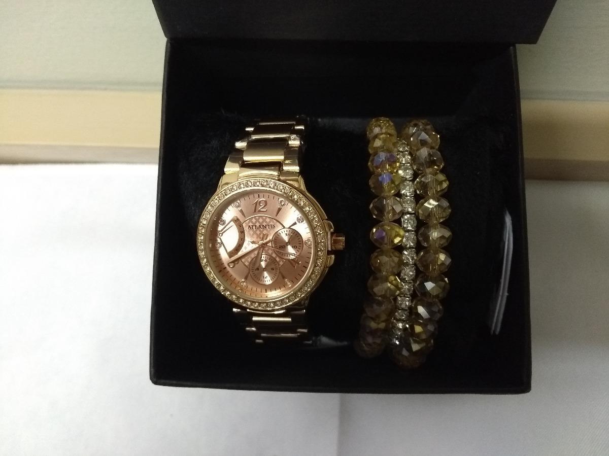 34bf87e4434 relógio feminino atlantis rosé com strass + pulseira luxo. Carregando zoom.