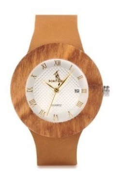 relógio feminino bambu analóg bobo bird calendário wc01