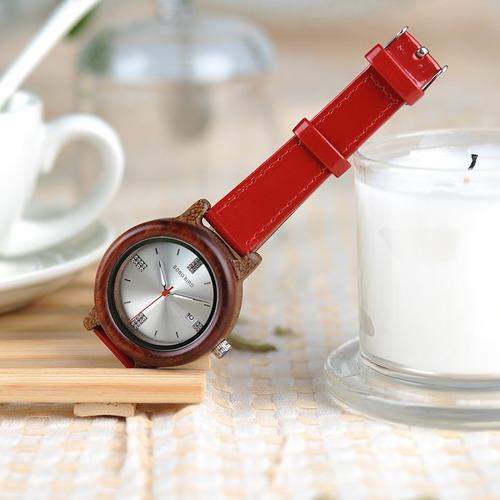 relógio feminino bambu madeira red analógico bobo bird p29b