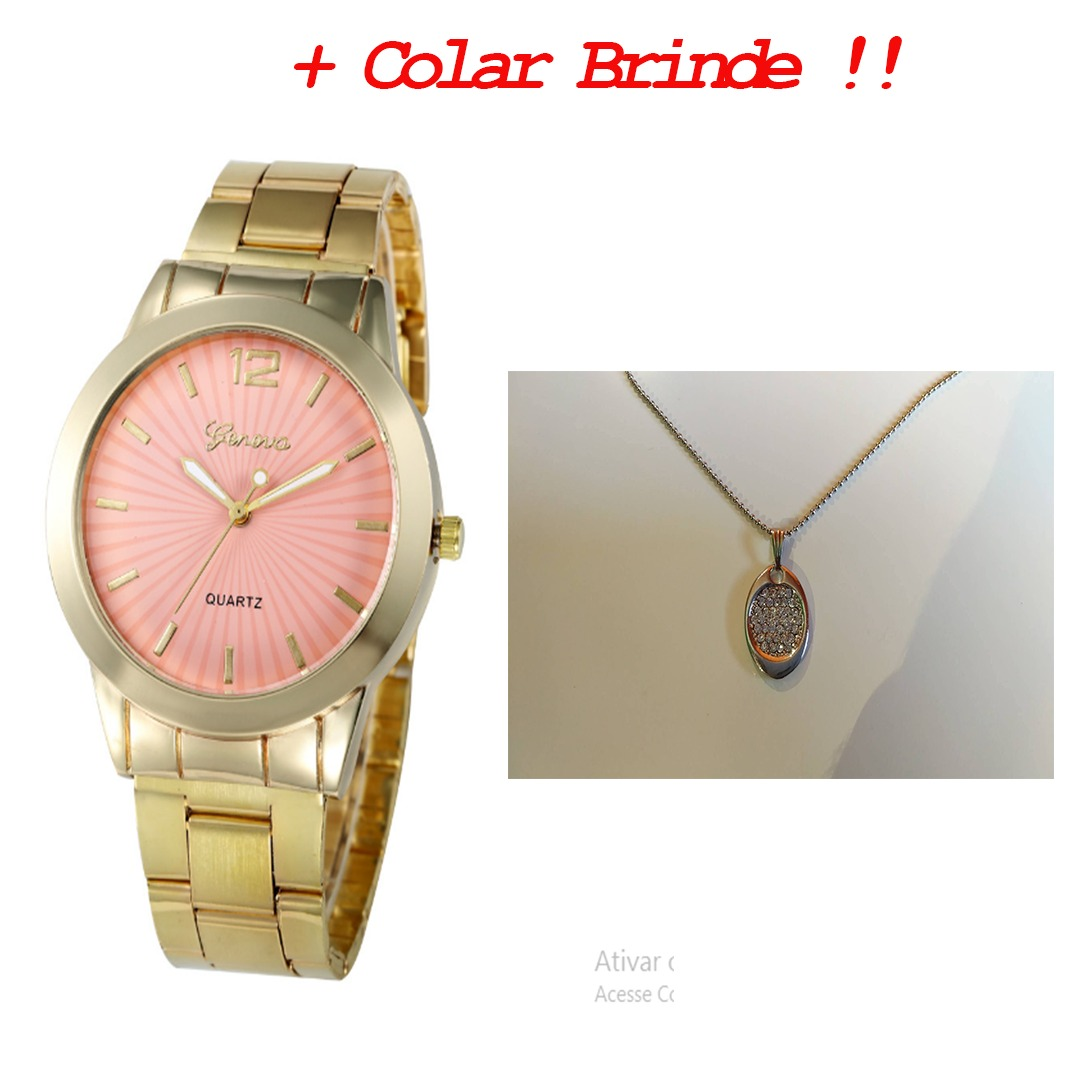 eaaf0224f0f relogio feminino barato dourado rosa + colar brinde !! Carregando zoom.