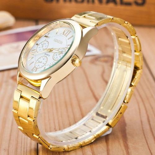 relogio feminino barato geneva dourado luxo pronta entrega