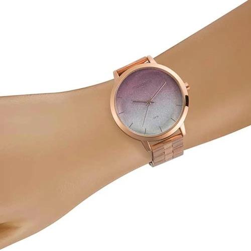 relógio feminino barato mondaine glitter degradê rosé + nf
