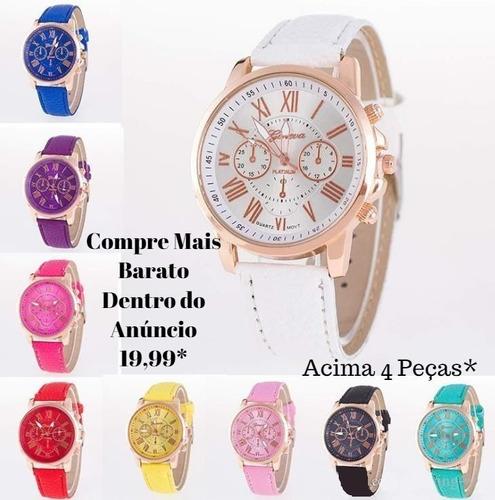 relógio feminino barato para revenda couro romano promoção