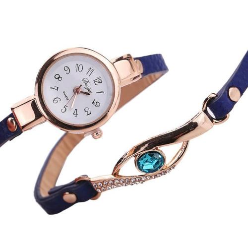 relógio feminino bonito pulseira de couro, pedra vintage