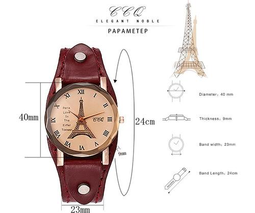 relógio feminino bracelete couro legítimo torre eiffel paris