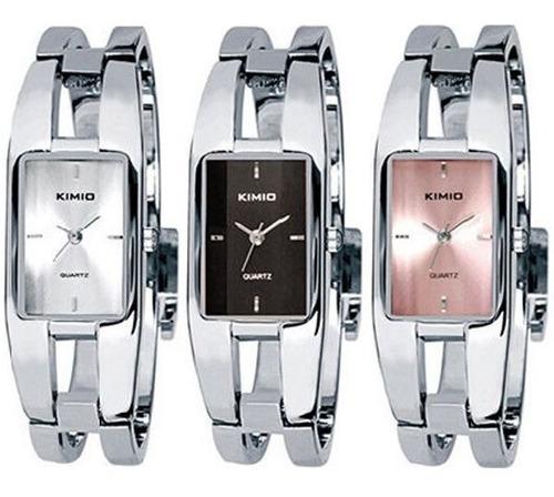 relógio feminino bracelete kimio 1601 prateado marron rosa