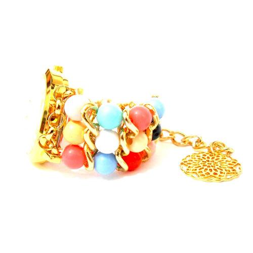 c7e9381be4f Relógio Feminino Bracelete Pedras Coloridas Fashion - R  145