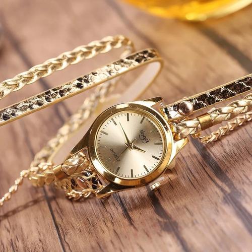 relógio feminino bracelete retrô dourado