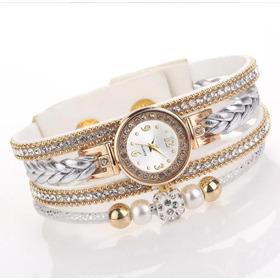 Relógio Feminino Bracelete Strass Pulseira Couro Branco