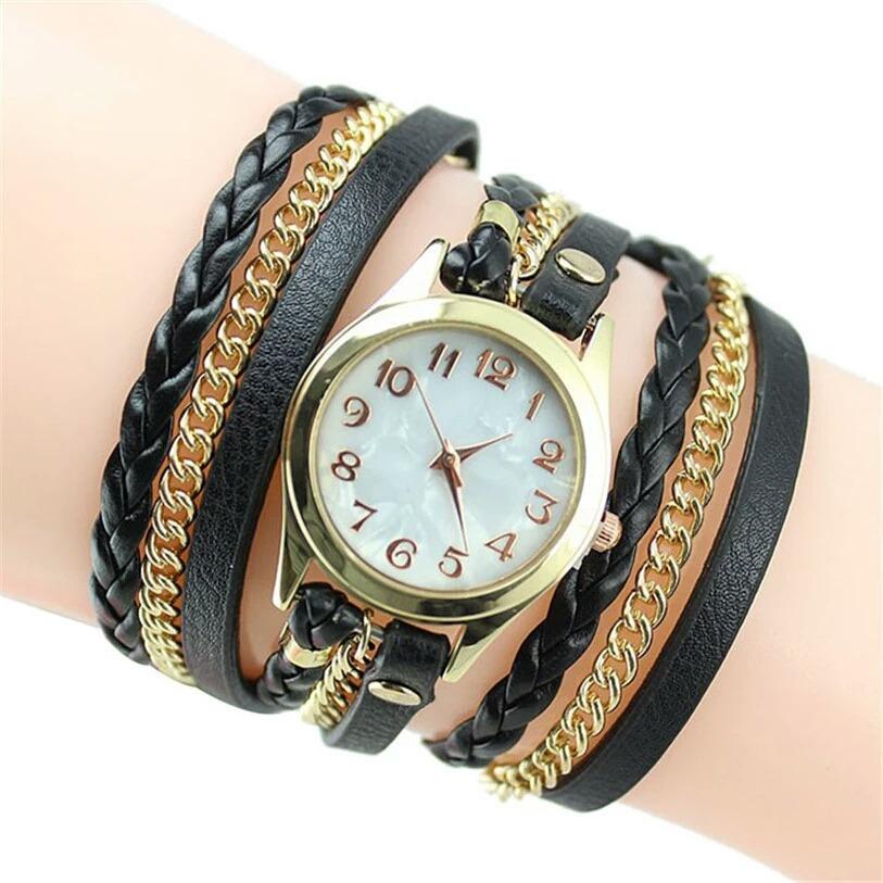 7882a0a5492 relógio feminino bracelete strass pulseira de couro lindo. Carregando zoom.