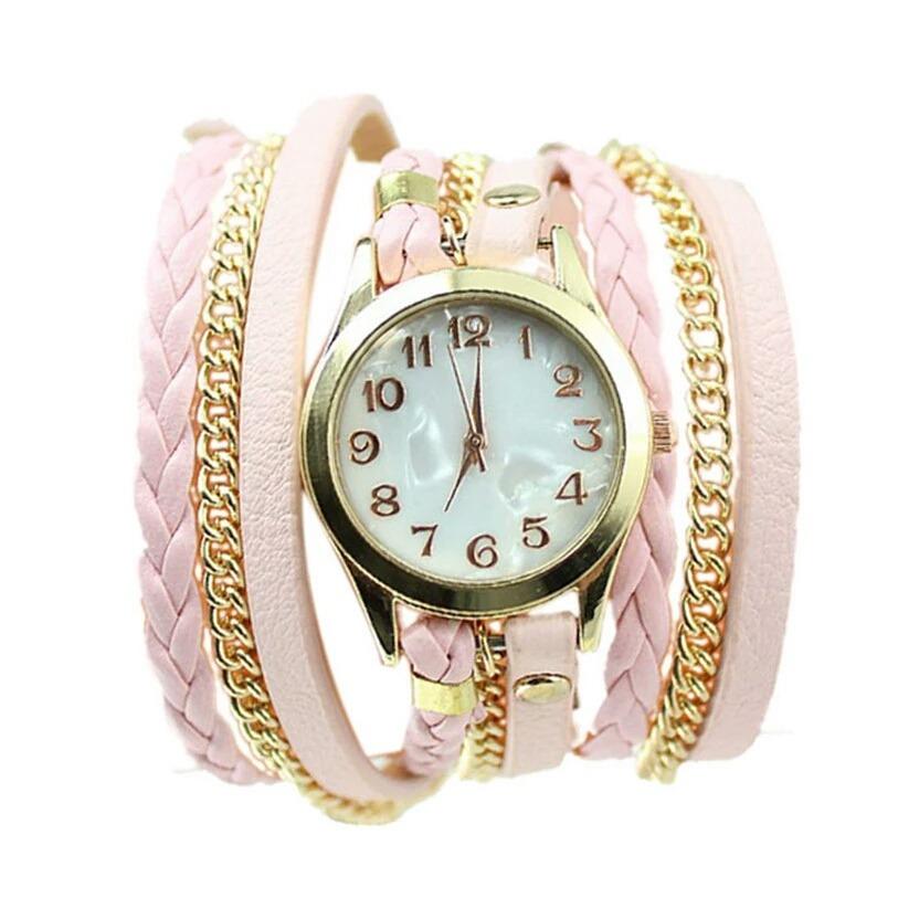 4b49643f8eb relógio feminino bracelete strass pulseira de couro lindo. Carregando zoom.
