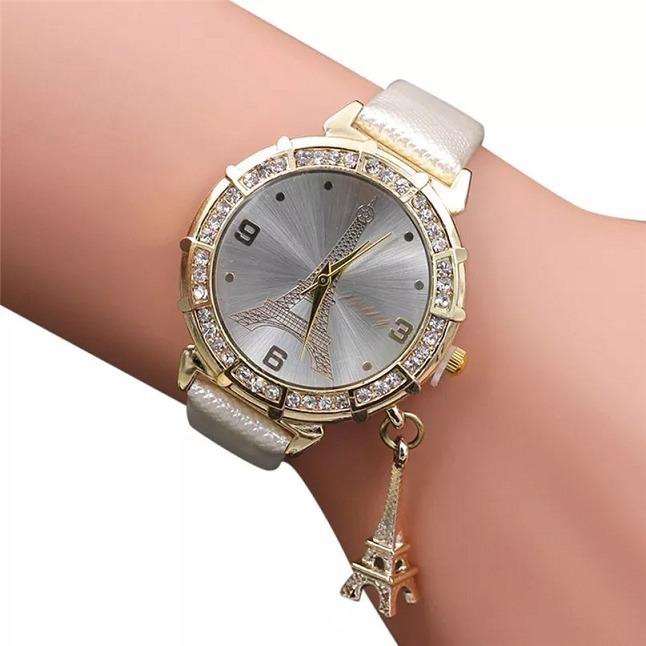 d8581942ce0 Relógio Feminino C  Pingente Torre Eiffel Pulseira Couro - R  59
