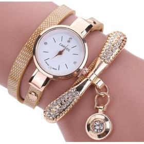 Relógio Feminino Carude Pulseira Bracelete Pingente Luxo