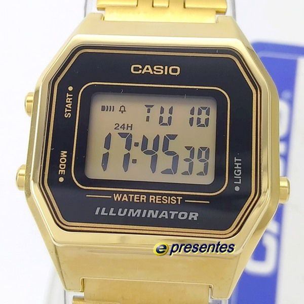 3d7905f9c04 relógio feminino casio digital dourado la680wga-1df 28mm · relógio feminino  casio