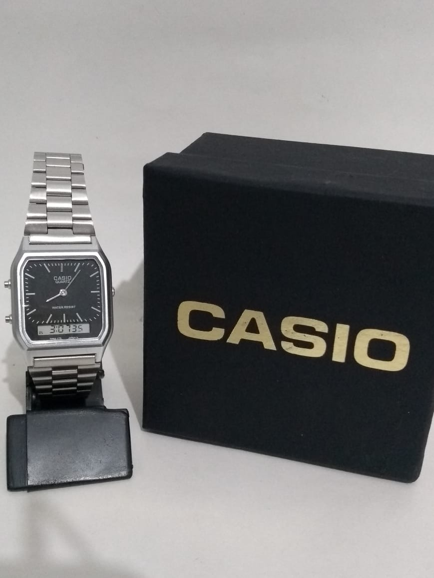 fbd3e1c543a Relógio Feminino Casio Analógico digital Social Aq-230a-7bmq - R ...