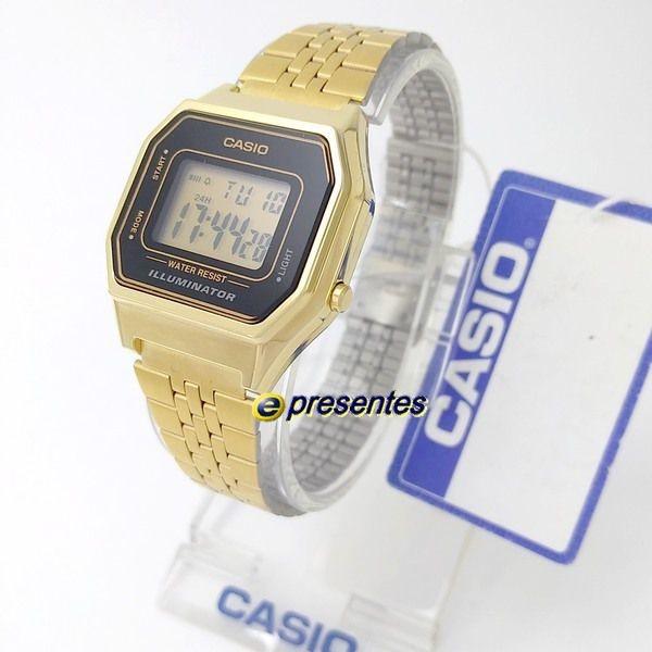 9629661ce1d Relógio Feminino Casio Digital Dourado La680wga-1df 28mm - R  264