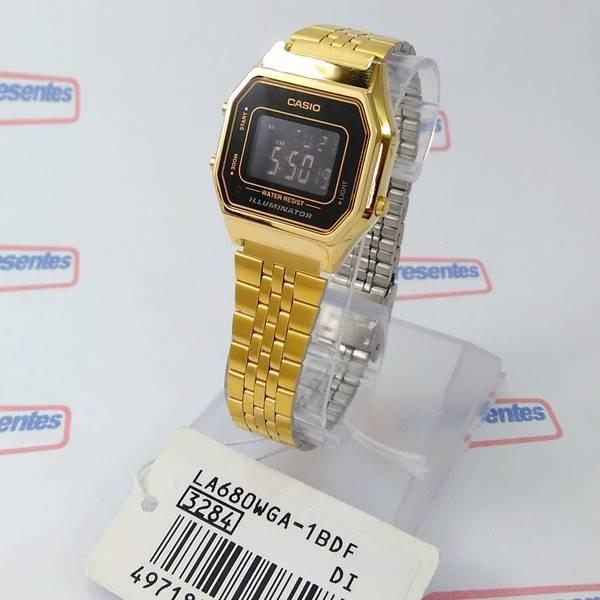 78e46fb6b999a Relógio Feminino Casio Digital Dourado Vintage La680wga 1bdf - R ...