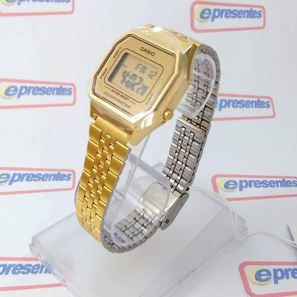 9a161d54b0e Relógio Feminino Casio Digital Dourado Vintage La680wga-9df - R  259 ...