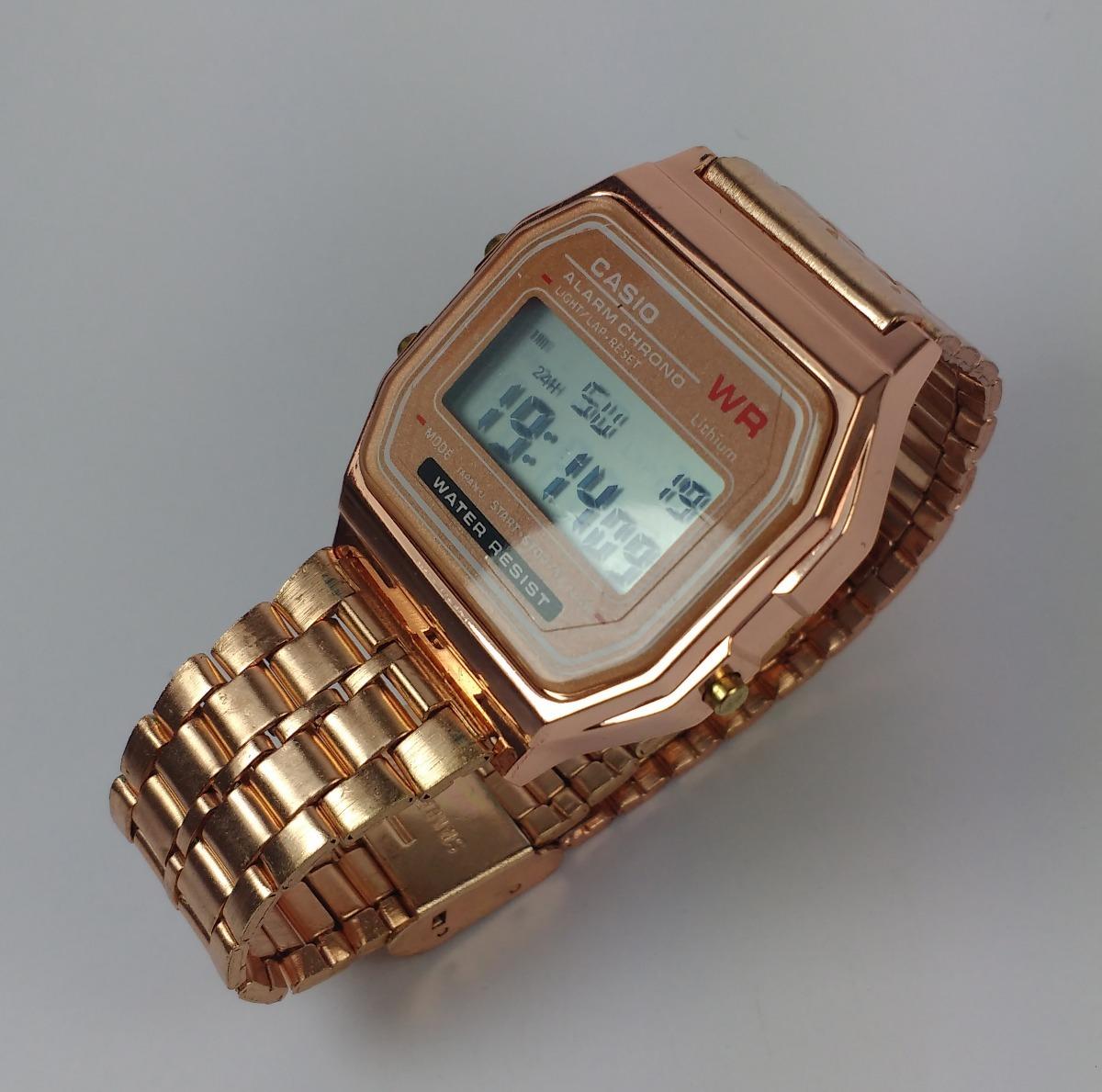 fe0cb313345 relógio feminino casio wr retrô vintage rose digital. Carregando zoom.