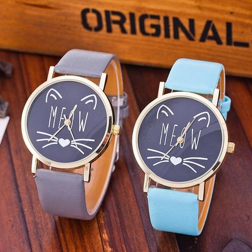 relógio feminino casual couro elegante estiloso gata