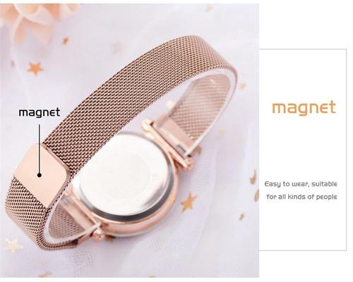 relogio feminino ceu estrelado pulseira magnetica brilhante