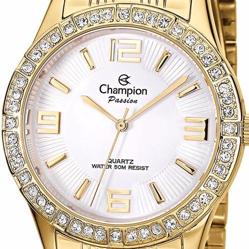 5e171d10cb3 Relógio Feminino Champion Dourado Ch24624h Original - R  219