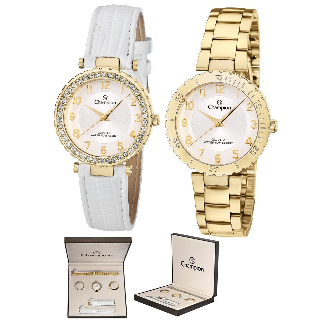 de3abc2c5d5 kit relógio feminino analógico champion dourado - cn28759h. Carregando zoom.